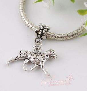 50 Ancient Silver Plated Dalmatians Dog Charms BEAD1
