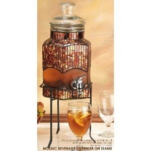 Mosaic Brown Tone Glass Beverage Dispenser on Stand