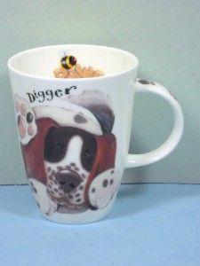 Roy Kirkham Fine Bone China Louise Shape Mug Dogs Paws DOG ENGLAND