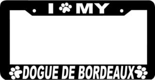 Dogue de Bordeaux Dog Paw Print License Plate Frame