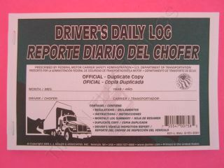 50 Pack Bilingual Daily Log Book w Recap Simplified Dvir JJ Keller 631