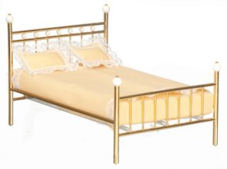 Dollhouse Miniature Bedroom Furniture Metal Double Bed w Mattress 1 12