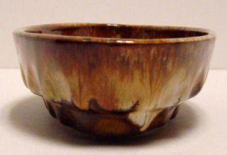 Vintage Dryden Hot Springs Ark Art Pottery Brown Drip Glaze Oval Dish