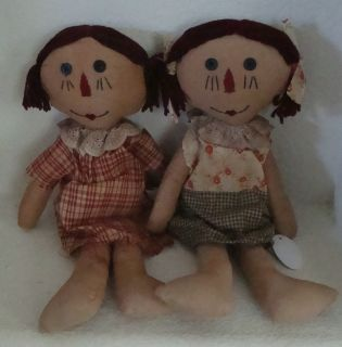 Set of 2 Country Rag Doll Raggedy Dolls Primitive Style Folk Art 14
