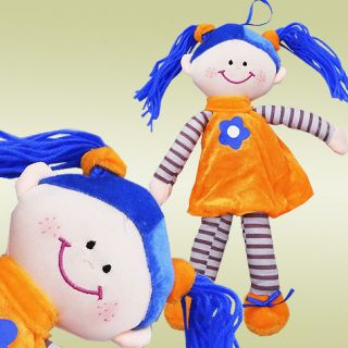 Cute Soft Rag Doll Girl Toy Blue Hair Orange Dress