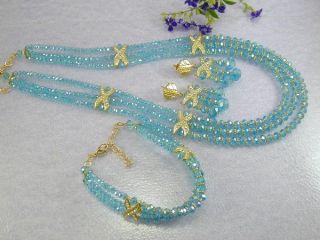 Look Blue Topaz Crystal Beaded Dubai Set 24K Gold GP Earrings Necklace