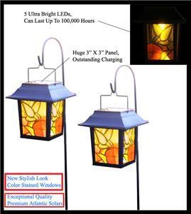 PK Outdoor Garden Hanging Cane Solar Landscape Light 5 Amber LEDs