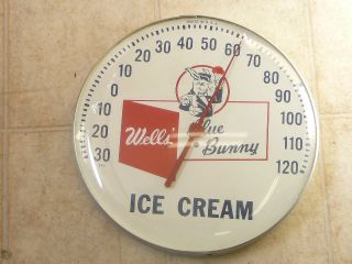 Old Wells Blue Bunny Ice Cream 12 Round Glass Dome Thermometer Le