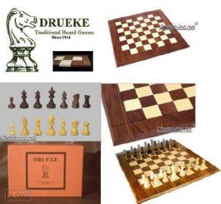 New Classic Drueke 15 Players Walnut Board Pieces Chess Boxed Gift Set