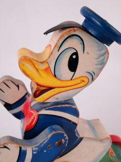 Estate 1940s Vintage Fisher Price Walt Disney Donald Duck Pull Toy