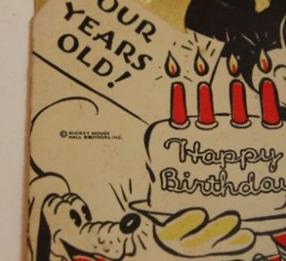 Mouse 4 Years Old Birthday Card Vintage RARE Hall Brothers Inc 1930s