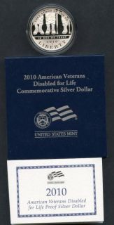 2010 W American Veterans Disabled for Life Proof Silver Dollar