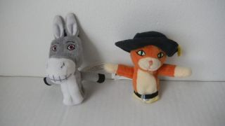 2pcs Plush Toy Doll Cat Donkey Finger Puppet 4 SHREK2 The Third Movie