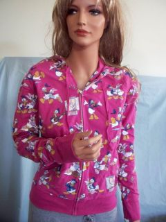 NEW L Large Disney Pink Donald Daisy Duck Stretch Zip TUNIC HOODIE