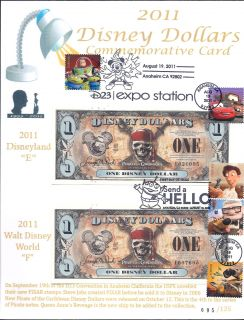 PIRATES BOTH E & F Disney Dollar NEW ISSUE Commemorative Card #095