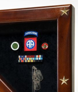 Flag Display Case For Memorial Flag and Medals. Solid Mahogany With