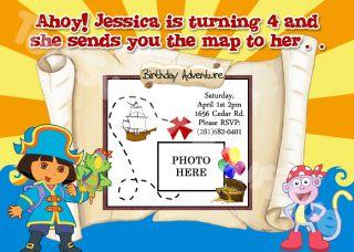 Dora The Explorer Custom Photo Birthday Invitations Diego Boots Swiper