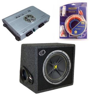 KICKER CAR STEREO SUBWOOFER SYSTEM INCLUDES VC12 BOX, DUB2502 AMP