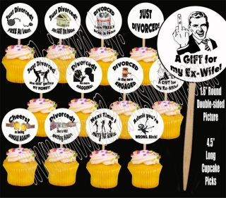 Divorce Party for Him Cupcake Picks Cake Toppers 12 Pcs