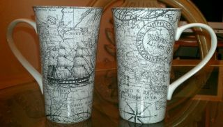 NEW 222 Fifth Due North JUMBO Atlas Map Coffee Mug Gray White Sailboat
