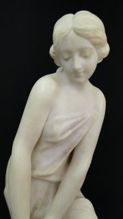 Signed M Duval Antique Marble Sculpture of Beautiful Woman Putting on
