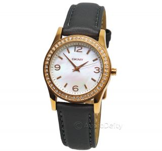 DKNY Mother of Pearl Dial Ladies Watch, Rose Gold Tone w/ Stones
