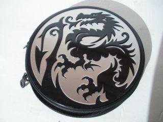 Dragon CD DVD Video Game Media Case Storage Holder Wallet Metal Zip