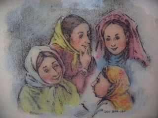 Engraving Ladies Hand Painted Signed Dov Bar Lev in Frame