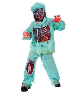 Boys Halloween Deluxe Zombie Doctor Scrubs Fancy Dress Costume Age 4 6