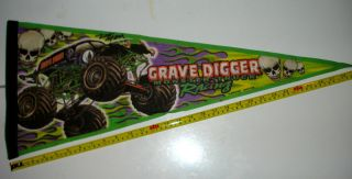 Grave Digger Pennant Flag Autographed Signed by many Monster Truck