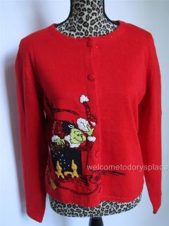 Michael Simon Exclusive Dr Seuss Grinch Red Cardigan Christmas Sweater