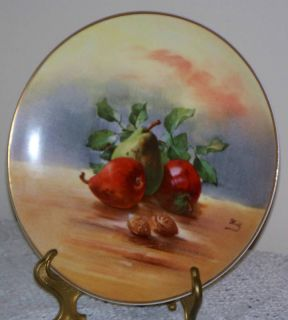 Antique LRL Limoges France 91 4 Vintage Hand Painted Fruit Nuts Plate