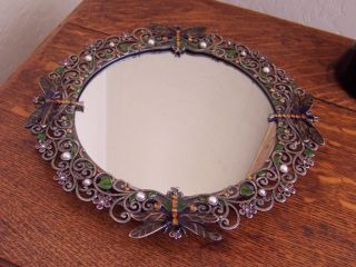 Enameled Solid Pewter MIRRORED TRAY, DRAGONFLY Vanity Perfume Tray