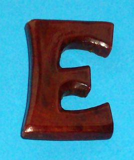 Dark Brown Laquered Letter E Initial Monogram Brooch Pin