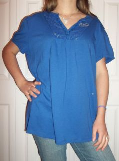Womens Plus Size Just My Size Royal Blue Short Sleeve Shirts Size 2X