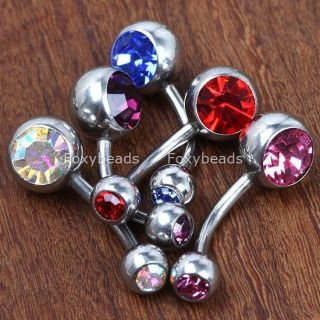 Lot 5pc Double Gem Belly Button Ring Navel Bars Jewels