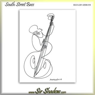 Upright Bass Player One Line Drawing Sir Shadow 1 018