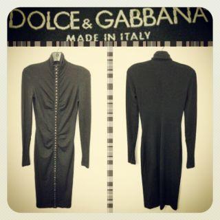 Dolce Gabbana $1 700 Black Wool Silk Ruched Snap Front Jersey Dress 6