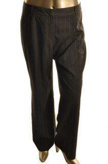 York New Gray Flat Front Pinstripe Dress Pants Plus 14W BHFO