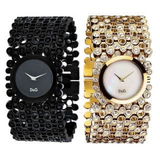 Dolce and Gabbana Risky Womens Fashion Watch Gold Tone or Black