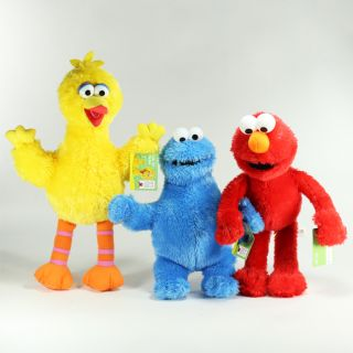 Sesame Street Plush Doll Large Set of 3 Elmo Big Bird Cookie Monster