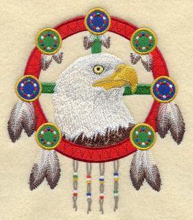 Eagle Dream Catcher Machine Embroidered Quilt Block AZE