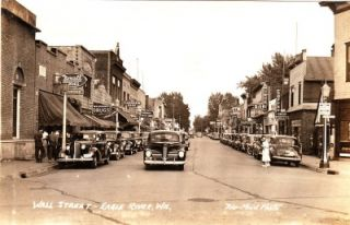 RPPC Eagle River Wisconsin Wi Great 1930s Cars Signs D339