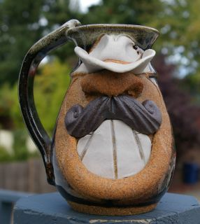Cup Brown Man Face Mustache Studio Pottery Signed Eakin Cowboy