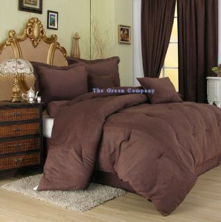 7pcs SOLID BROWN MICRO SUEDE COMFORTER/BED IN A BAG SET KING