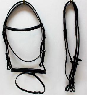 Black Leather English Bridle w Drop Noseband Full Size Horse Tack