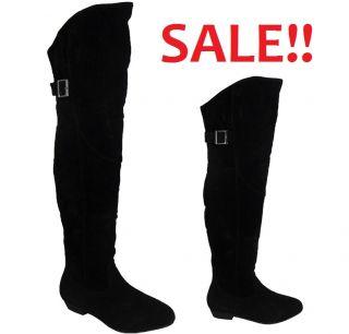 Womens Ladies Black Faux Suede Buckle Knee High Low Heel Flat Boots 3