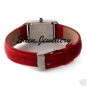 Lucury Marcel Drucker Sterling Silver Watch Red Leather