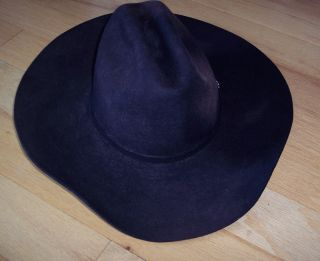 MHT Western Cowboy Rodeo Hat Black 3X Beaver Preowned