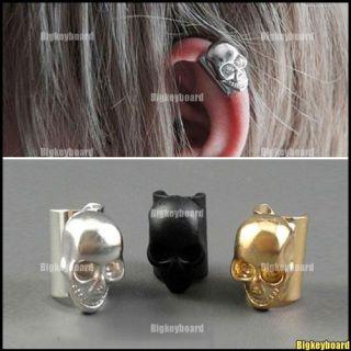 Gothic Punk Rock Skeleton Skull Earrings Ear Clip Cuff Wrap